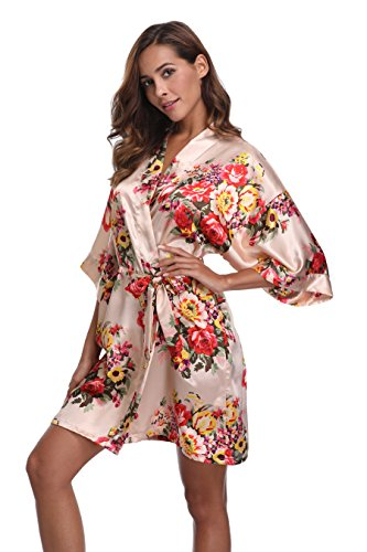 Women's Short Floral Kimono Robe Satin Bridesmaid Bathrobe Silk Nightwear for Bridal Wedding Party Beige M