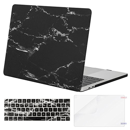 MOSISO MacBook Pro 13 inch Case 2020 2019 2018 2017 2016 Release A2289 A2251 A2159 A1989 A1706 A1708, Plastic Pattern Hard Shell Case & Keyboard Cover Skin & Screen Protector, Black Marble