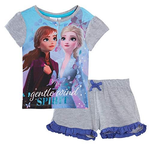 Disney Mädchen Schlafanzug Frozen 2 kurze Pyjama Kinder Elsa Anna in Geschenkbox Shortie Pjs Shorts + T-Shirt Gr. 122, grau