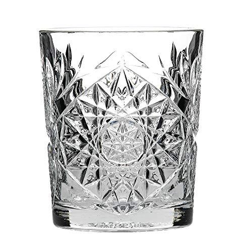 Diseño tradicional gafas doble Hobstar 12 oz/340 ml - Juego de 12 - Vaso para Whisky con Vintage de cristal tallado