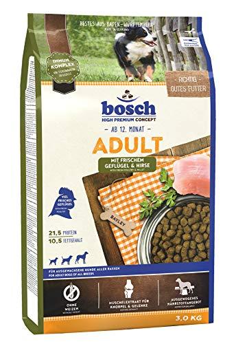 bosch HPC Adult mit frischem Geflügel & Hirse | Hundetrockenfutter für ausgewachsene Hunde aller Rassen | 1 x 3 kg