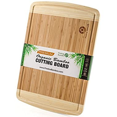 NON-SLIP, Extra Large Organic Bamboo Cutting Board| DEEP Juice Grooves | Wooden Chopping Board for Meat (Butcher Block), Vegetables, Fruit, Cheese| Best Wood Serving Tray (18x12) by PRISTINE BAMBOO