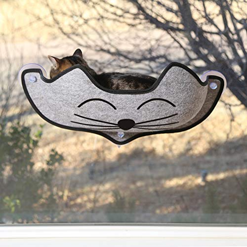K&H PET PRODUCTS EZ Mount Window Bed Kitty Sill Gray with Kitty Face 27 X 11 X 6 Inches