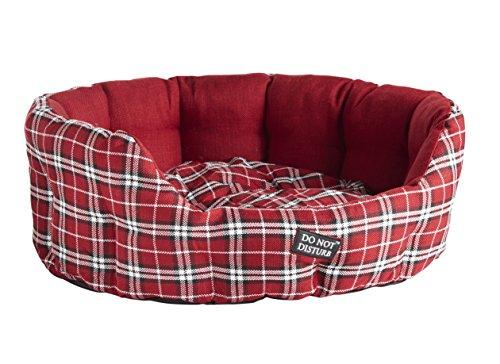 NIET DISTURB Ovaal Bed, 81cm, Rode Schotse ruit