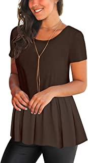 FHKDL Womens Short Sleeve Shirts Blouses Open Back Casual T Shirt Flowy Tunic Tops
