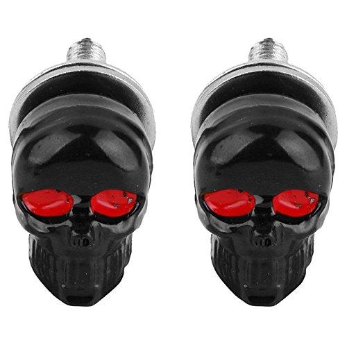Baalaa 1 par de tornillos para placa de matrícula, diseño de calavera, color negro