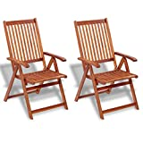 Anself Folding Garden Dining Chair Set of 2 Outdoor Acacia Wood