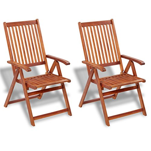 Festnight Gartenstuhl 2 Stücke Klappstuhl Akazienholz Gartensessel Holzstuhl 57x69x111cm Gartenmoebel mit 5 Positionen