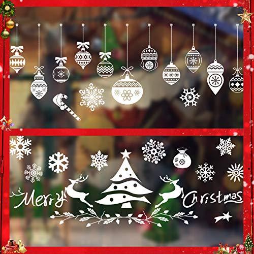 Sunshine smile Weihnachts-Fenster Dekoration,Fensterbilder Weihnachten,Schneeflocken Weihnachtsdeko,Weihnachtsdeko,Winter Dekoration,Schneeflocke Aufkleber Dekoration,Fensterdeko Schneeflocken