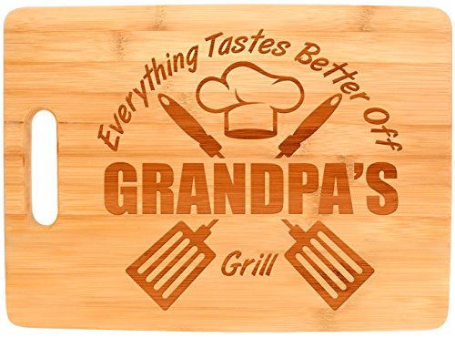 Laser Engraved Cutting Board Everything Tastes Better Off Grandpas Grill Gifts for Grandpa Grilling Gifts for Chefs Grandpa Birthday Gifts Big Rectangle Bamboo Cutting Board