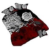 3d Leopard Blanc et Rose rouge Parure de lit Floral Prints 4piece Housse de couette Taille double Couette de lit