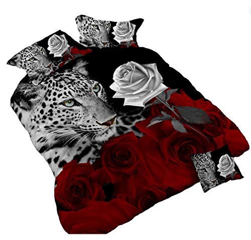 3d leopardo blanco y rojo rosa juego de cama floral Prints 4funda de edredón doble tamaño Colcha juego de funda