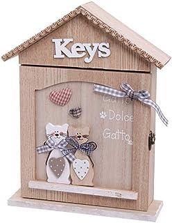 Alices Collection – Caja de madera para colgar llaves en la pared – Armario de madera para llaves – diseño de gato – 21 x 28 x 6 cm, No2, 21x28x6cm: Amazon.es: Hogar