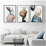 DLFALG Pintura decorativa abstracta nórdica minimalista Marmoleado Wall Art Line Poster e impresión para sala de estar- 40x60cmx3 Sin marco