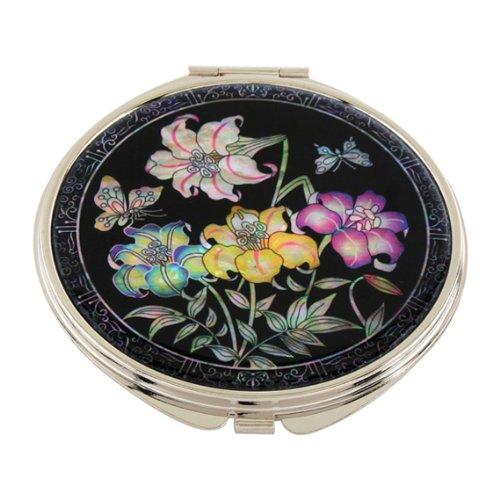 Miroir de Poche Nacre Maquillage Grossissant Cadeau Tradition Corée FLEUR DE LIS