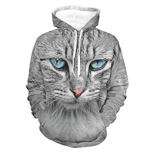 Harberry Sudaderas para hombre Siberian Cat Casual – Chaqueta de entrenamiento deportiva blanca 4XL