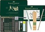 Faber-Castell - Juego de grafito Pitt Graphite en estuche de metal, grande, 26 + 3 piezas (incluye lápiz de borrar con pincel, borrador de papel y bloque de afilado de mina).