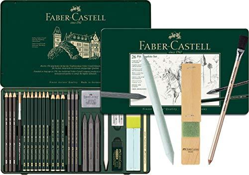 Faber-Castell - Pitt Graphite Set im Metalletui, groß, 26 + 3 -teilig (inklusive Radierstift mit Pinsel, Papierwischer und Minenschärfblock)