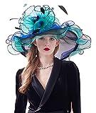 Z&X Womne's Dual-use Organza Church Kentucky Derby Hat Bow Fascinator Clip Wide Brim Ruffles Wedding Hat Blue Green, #03a- Green and Black, One Size