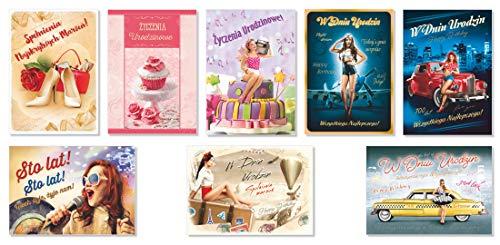 8 Geburtstagskarten Polnische Sprache- Satz Nr. 4