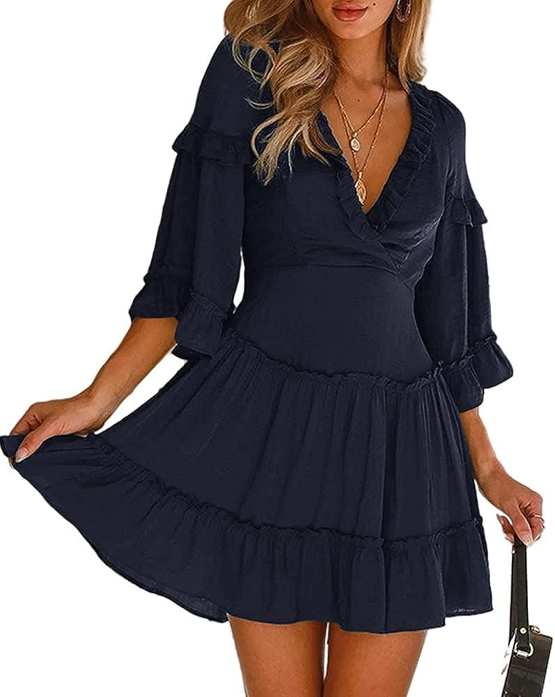 MIRACMODA Womens Summer Elegant Satin V-Neck Ruffle Dress Casual Lace Hem High Waist Ruffle A-Line Mini Dress