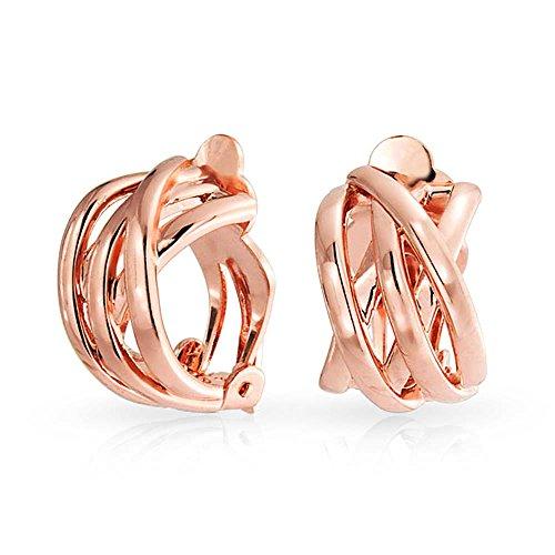 Open Criss Cross Celtic Knot Weave Wide Half Hoop Clip On Earrings Non Pierced Ears Rose Gold Plated Brass