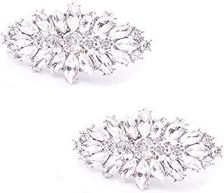Casualfashion Fashion Decorative Silver/Gold Tone Crystal Rhinestone Shoes Clutch Dress Hat Shoe Clips 2 Pcs (Silver Tone)