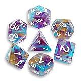 Dados RPG de color DND para Dungeons y dragones, Pathfinder, MTG, D & D, color naranja, morado, azul lago, flotante, transparente, con bolsa gris impermeable