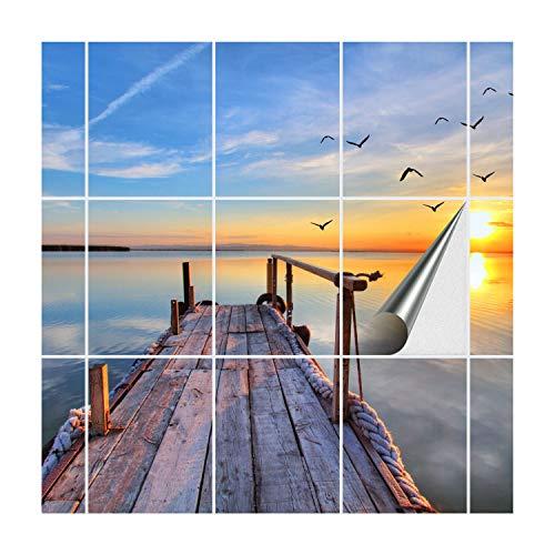 FoLIESEN Fliesenaufkleber für Bad und Küche | Fliesenposter Abend am See | Fliesengröße 20x25 cm (BxH) | Fliesenbild 15 TLG. - 100x75 cm (BxH)