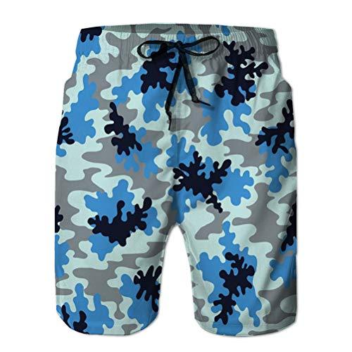 Xunulyn Pantalones Cortos de Playa de Secado rpido para Hombres, con Estampado 3D, Pantalones Cortos de Playa de Camuflaje Azul, Fondo de Camuflaje Marino Azul, Azul Marino, Azul Marino, Encantador