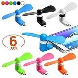 Funmo - Mini USB Ventilatore, Mini del Ventilatore, Portable Telefono Cellulare Ventola per Smartphone, USB Mini Ventilatore Portatile (6 Pezzi)