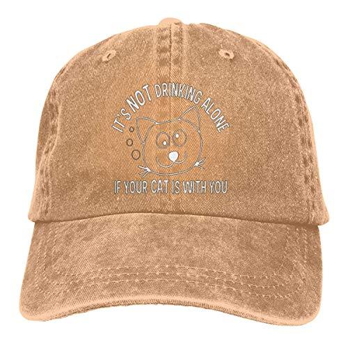 RFTGB Gorras Unisex Accesorios Sombreros Gorras de béisbol Sombreros de Vaquero It's Not Drinking Alone If Your Cat Denim Baseball Cap, Unisex Vintage Dad Hat, Golf Hats, Adjustable Plain Cap