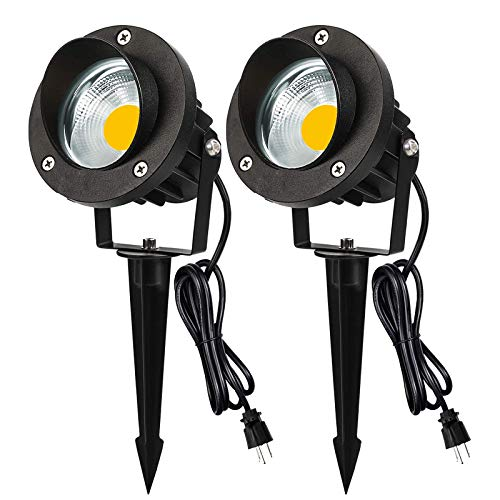 Outdoor LED Landscape Spotlight 5W 120V AC Garden Light IP66 Waterproof for Trees,Yard,Flag,Lawn,Patio Outside Flood Lights(2 Pack)
