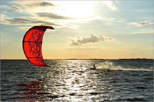 Poster 30 x 20 cm: Kite Surfer auf hoher See von HADYPHOTO - hochwertiger Kunstdruck, neues Kunstposter