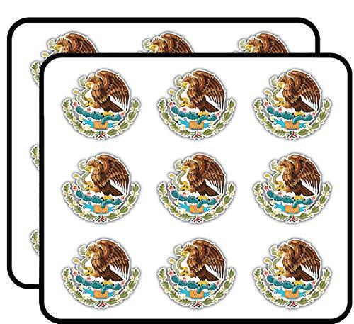 "Mexico Coat of Arms Art Decor 2"" Each Sticker for Scrapbooking, Calendars, Arts, Kids DIY Crafts, Album, Bullet Journals 18 Pack"