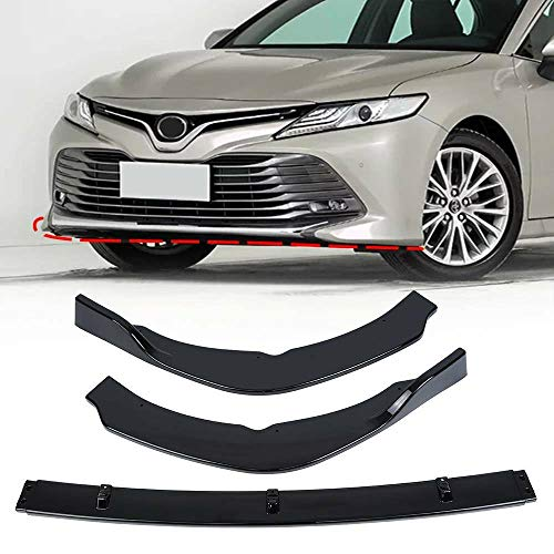 Ambienceo 3 Pieces Style Glossy Black Front Bumper Lip Spoiler Splitter Fits for 2018-2019 Toyota Camry SE XSE