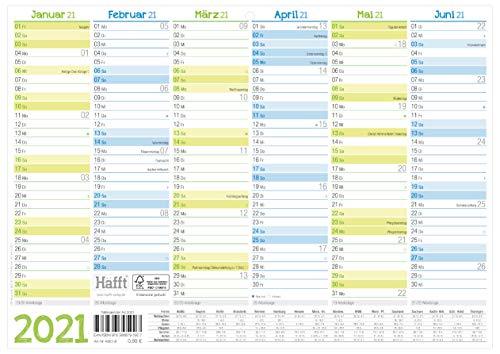 Premium Tafelkelander 2021 A4 quer - Jahresplaner, Wandkalender, Jahreskalender inkl. kleine Übersicht Folgejahr, Feiertage & Ferienübersicht | nachhaltig & klimaneutral