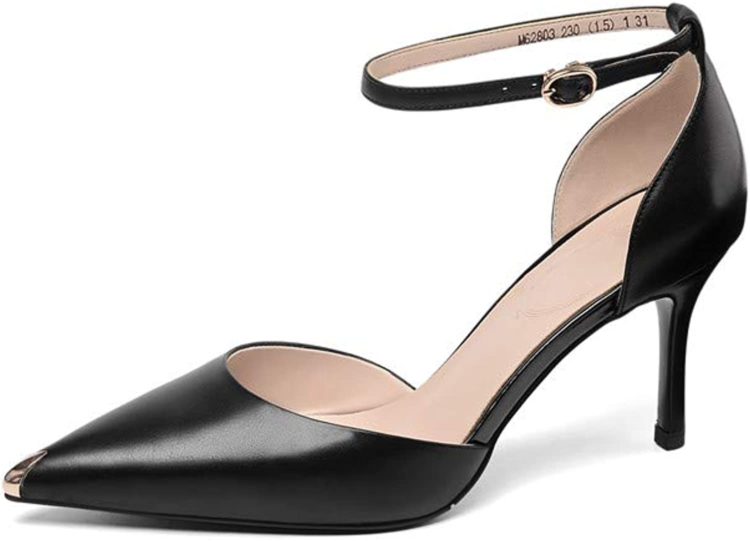 Nine Seven Women's Suede Leather Pointed Toe Stiletto Heel Mule Handmade Glossy and Comfortable Spring Summer Sandal shoes