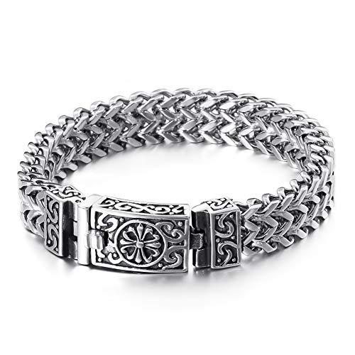YCYR Punk Skull Bracelet, Men's Stainless Steel Cubic Zirconia Biker Link Curb Chain, Hip Hop Gothic Wristband Bangle Jewelry,Cross/8.67″