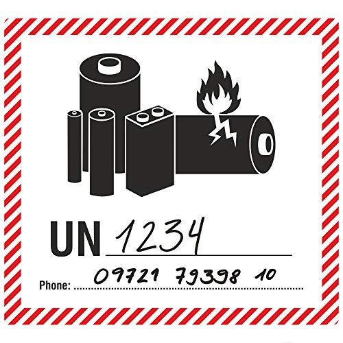 Labelident Transportaufkleber - enthält Lithium Ionen oder Metall Batterien UN & Telefonnummer zum Selbstbeschriften - 120 x 110 mm - 500 Verpackungskennzeichen auf 76 mm (3 Zoll) Rolle, Papier