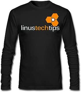 L-Inus Tech Tips Men's Funny Long Sleeve Cotton T-Shirt Black