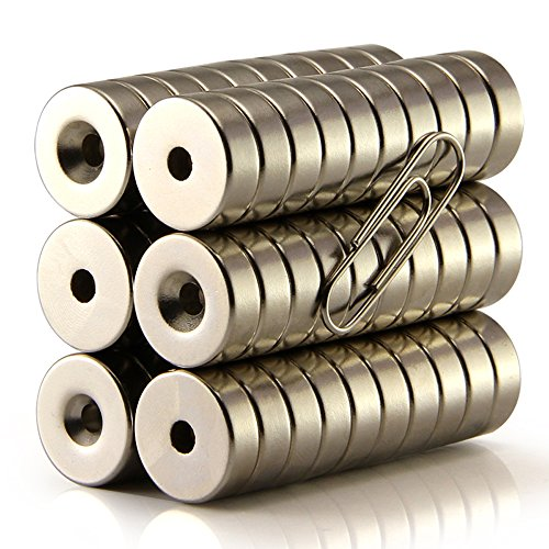 Hmlkeci Magnets 12mm D Disc Countersunk Permanent Magnet Fastener 12mmX4mm',Magnets With Holes,Countersunk Hole 2mm',38N (20pcs)