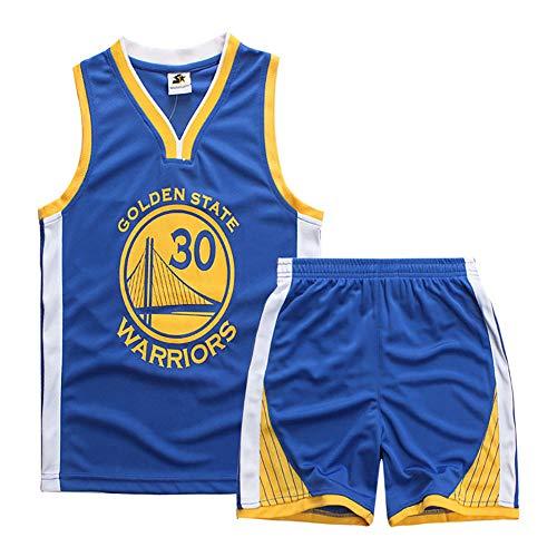 BCGG® # 30 Stephen · Curry Golden State Warriors Trikot-Set, Jungen-Basketball-Uniformweste, Fan Edition-Set Heißgepresste Version (mit Shorts) blau-XS (110 cm-120 cm)