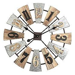 MODE HOME 24 Large Metal and Wood Windmill Wall Clocks Decorative 3D Vintage Clock Farmhouse Clock Wall Decor
