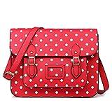 Miss Lulu marca Vintage funda lunares piel sintética bolsa de trabajo maletín Satchel Mochila Escolar, - Polka Dots Red,