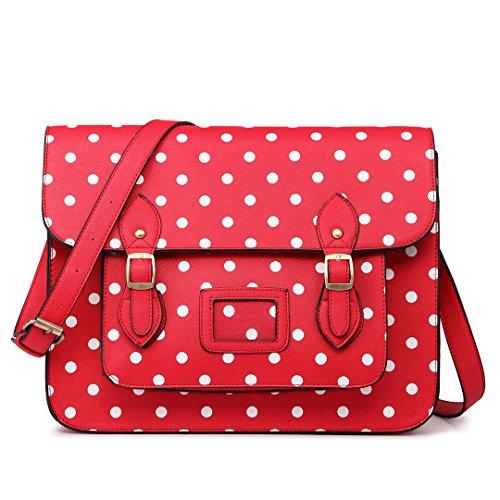 Miss Lulu, cartella vintage con design a pois in ecopelle, per lavoro o per la scuola, borsa Satchel, Rosso