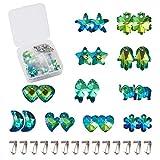 Cheriswelry 44 colgantes de cristal facetado galvanizado con forma de corazón, copo de nieve, luna, pescado, elefante, estrella, cuentas colgantes con pinzas a presión para hacer joyas
