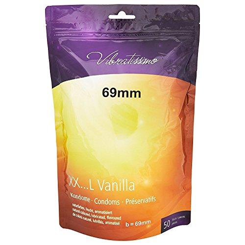 AMOR Vibratissimo 50 Premium condoome, voelt echt en precies op maat gesneden op de individuele grootte 69 mm (50 Stück) 50 stuks vanille
