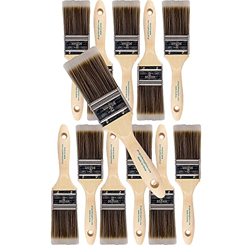 12PK 2 inch Flat Brush Premium Wall / Trim House Paint Brush Set Great for Professional Painter and Home Owners Painting Brushes for Cabinet Decks Fences Interior Exterior & Commercial Paintbrush.