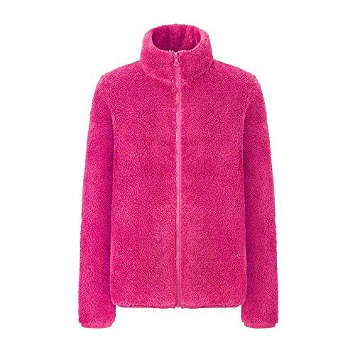 llzshoutao Damen Herbst Und Winter Outdoor Fleece Jacke Damen Jacke Winddicht Softshell Lose Warme Dicke Wollmantel Sweatshirt@RotXXL (170/96A)